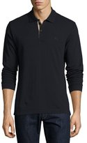 Burberry Long-Sleeve Oxford Polo Shirt, Navy