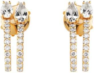 Swarovski x Paige Novick Arc-en-Ciel Yellow Gold, Diamond and Topaz Double Hoop Earrings
