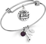 Unwritten Purse and Shoe Charm and Amethyst (8mm) Bangle Bracelet in Stainless Steel