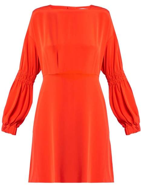 Tibi Balloon Sleeved Silk Crepe Dress - Womens - Orange