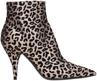 Casadei Low Heels Ankle Boots In Animalier Suede