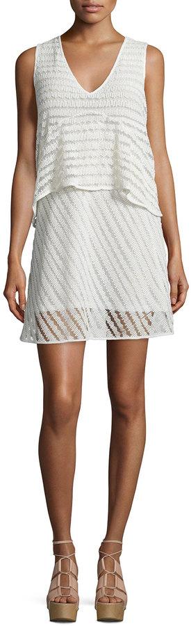 See by Chloe Sleeveless Sheer-Stripe Popover Dress, White