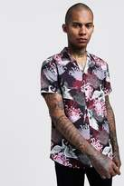 BoohoomanBoohooMAN Mens Black Oriental Print Short Sleeve Revere Shirt, Black