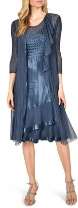 Komarov Tiered Charmeuse & Chiffon A-Line Dress with Duster Jacket