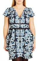 City Chic Plus Size Women's 'Stained Glass' Print Front Zip Pleat Tunic