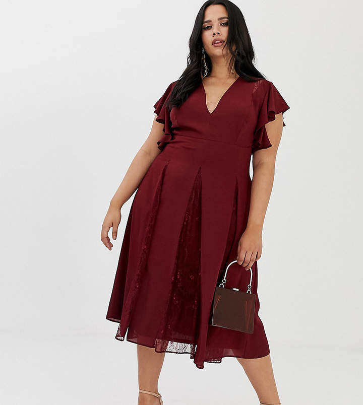 Asos DESIGN Curve midi dress with lace godet panels