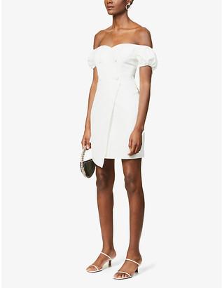 Lavish Alice Bardot asymmetric crepe mini dress