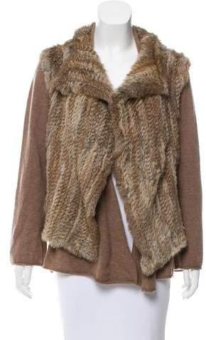 Minnie Rose Fur & Cashmere Knit Cardigan