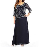 J Kara Plus Floral Beaded Chiffon Gown