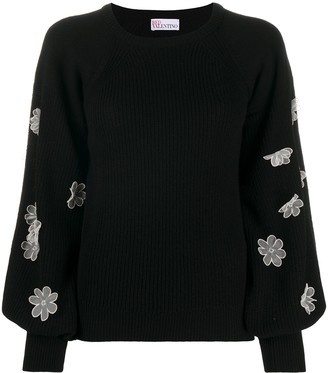 RED Valentino Floral-Appliquee Crew-Neck Jumper