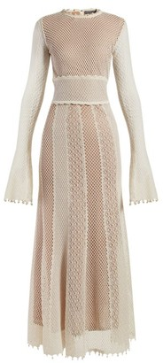 Alexander McQueen Faux-pearl Trimmed Macrame-lace Gown - Womens - Ivory Multi