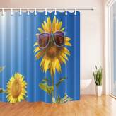 NYMB KOTOM Abstract Shower Curtains, Sunflowers with Sunglasses under Blue Sky, Polyester Fabric Waterproof Bathroom Bath Curtain, Shower Curtain Hooks Included, 69X70in