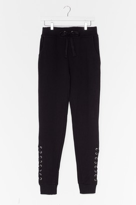 Nasty Gal Womens Weave Been There Lace-Up Joggers - Black - XS, Black