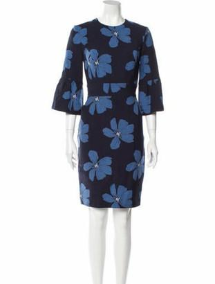 Lela Rose Floral Print Knee-Length Dress Rose