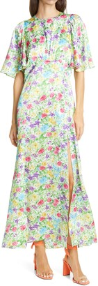 Les Rêveries Floral Flutter Sleeve Silk Maxi Dress