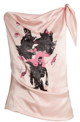 Claire Barrow - Mouse Monkey-print Silk-satin Top - Light Pink
