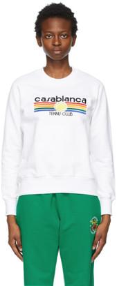 Casablanca White Vintage Tennis Stripe Sweatshirt