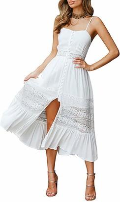 Changchang Women Summer Bohemian Dress Sexy Beach Hollow Sundresses Lace Open Back Halter Floral Skirt Chiffon Clothing (White S)
