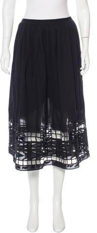 Sea Cutout-Accented Midi Skirt