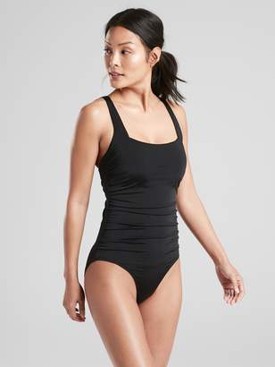Athleta Aqualuxe Wide Strap Square One Piece Swimsuit