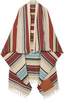 Loewe Leather-appliquéd Striped Wool-blend Scarf - Burgundy