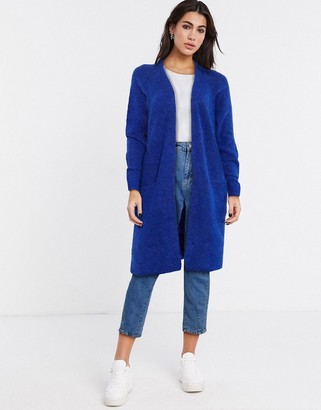 Selected anna long sleeve knit cardigan in blue