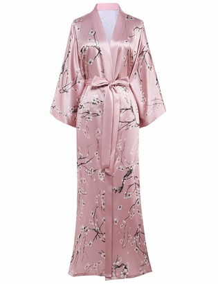 Coucoland Women's Long Kimono Robes Dressing Gown Satin Floral Kimono Robe Long Chinese Japanese Style for Nightwear Girl's Bonding Party Wedding Pajama Party (Pink)