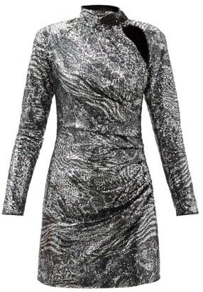 Dundas High-neck Cutout Sequinned Mini Dress - Silver