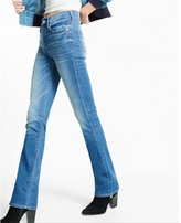 Express mid rise medium wash stretch barely boot jeans