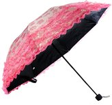 kilofly Ladies Floral Lace Trimming Parasol Folding Umbrella, Anti-UV [UPF 40+]
