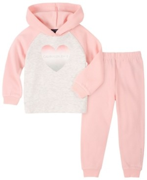 Calvin Klein Little Girl Fleece Hooded Top with Fleece Pant, 2 Piece Set