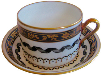One Kings Lane Vintage Ginori Italian Porcelain Cup & Saucer - The Emporium Ltd. - white