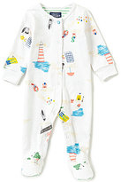 Joules Baby Boys Newborn-12 Months Ziggy Beach-Print Footed Coverall