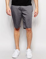 Asos Skinny Mid Length Tailored Shorts In Grey