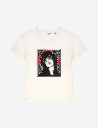 Claudie Pierlot Screen-printed linen T-shirt