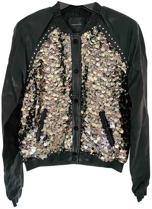 Maison Scotch Black Glitter Leather Jacket for Women