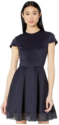 Ted Baker Rohdia Mesh Detail Skater Dress (Navy) Women's Dress