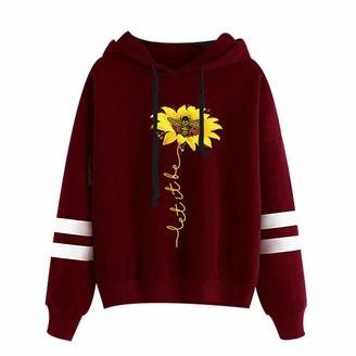 Yomomo Women Hooded Pullover Daisy Bee Letter Printed Hoodie Long Sleeve Sweatshirt Jumper Casual Fashion Personality Top Blouse (Wine M)