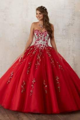 Morilee Embroidery and Beading on a Tulle Quinceanera Ball Gown