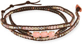 Nakamol Beaded Leather Wrap Bracelet, Pink