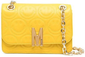 Moschino M smiley face quilted crossbody bag