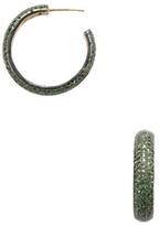 Artisan 18K Yellow Gold & Tsavorite Hoop Earrings
