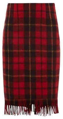 Marine Serre Tartan Upcycled Wool Skirt - Womens - Red