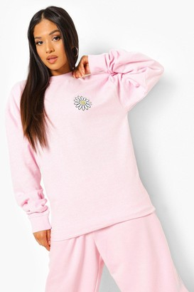 boohoo Petite Daisy Happy Face Sweatshirt