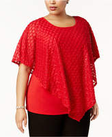 NY Collection Plus Size Embellished Lace Poncho Top