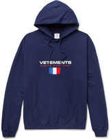 Vetements Embroidered Appliquéd Printed Loopback Cotton-Blend Jersey Hoodie
