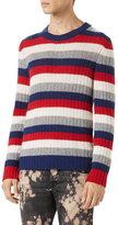Gucci Striped Cashmere Crewneck Sweater, Red