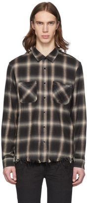 Amiri Beige and Black Shadow Plaid Shirt