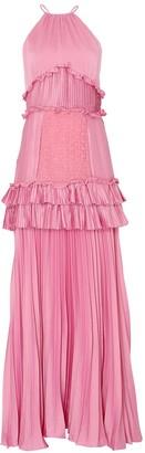 True Decadence Orchid Pink Satin Halterneck Gown