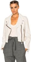 Etoile Isabel Marant Aken Washed Leather Jacket in White,Gray.